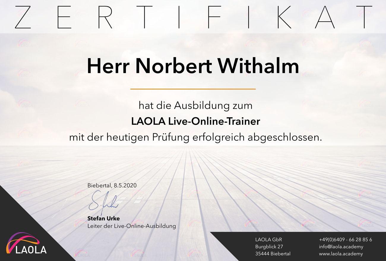 Online Coaching Zertifikat - Norbert Withalm - Potentialentfaltung & Ausdruckskraft - Resilienz, Kommunikation, Persönlichkeit